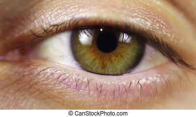 Human Eye Blinks - Close-up of man's eyes that blink, crazy...