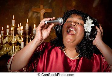 Bible singer - Negro spiritual gospel singer singing a hymn