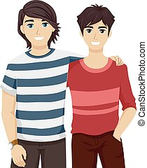 Teen Guys Bestfriends Side by Side - Illustration of Teenage...