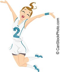 Teen Girl Player Happy Jump Cheer - Illustration of a...