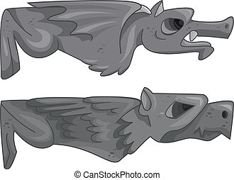 Horizontal Gargoyles - Illustration of a Pair of Gargoyles...