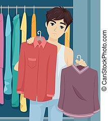十代, 人, ワードローブ, 選びなさい, 衣服,