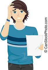 Teen Guy Dissapoint Test Paper - Illustration of a Teenage...