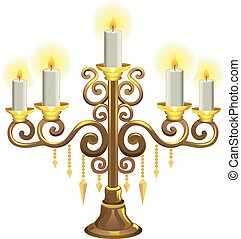 Golden Candelabra Lit Candles