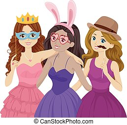 Teen Girls Photobooth Pose Costume - Illustration of Teenage...