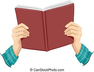 Cropped Hands Open Book Boy - Cropped Illustration of a Boy...