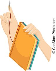 Hands Book Making Binding - Illustration of a Hand Binding a...