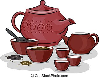 Chinese Traditional Tea Preparation - Illustration Featuring...