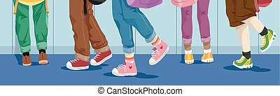Feet Kids School Hallway Walking - Illustration of School...