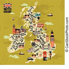 United Kingdom travel map with attractions in flat design