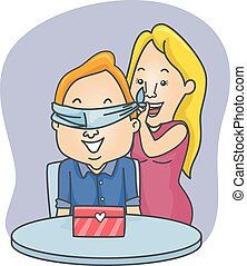 Couple Valentine Gift Surprise Blindfold Man