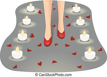 Feet Girl Proposal Candles Petals Hearts