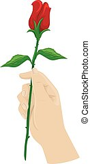 Hand Long Stemmed Rose - Cropped Illustration of a Hand...
