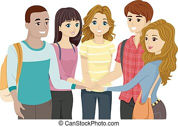 Teens Group Hands In - Illustration of a Teenage Group...