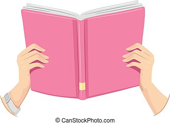Cropped Hands Open Book Girl - Cropped Illustration of a...
