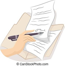 Cropped Hand Sign Contract - Cropped Illustration of a Hand...