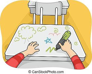 doodles, mãos, criança, Vandalismo, escrivaninha