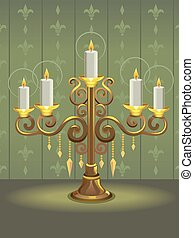 Golden Candelabra - Illustration of a Golden Candelabra with...