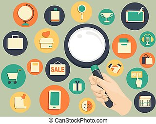 Hand Magnifying Glass Search Web Icons - Illustration of a...