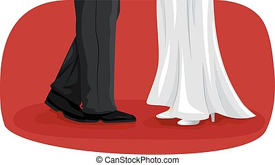 Feet Couple Wedding Dance - Illustration of a Newlywed...