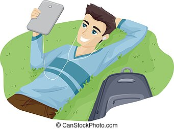 Relaxed Teen Guy Tablet Grass - Illustration of a Teenage...