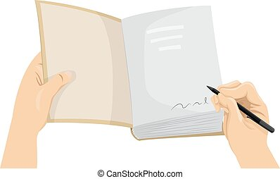Cropped Hands Book Signing - Cropped Illustration of a Hand...