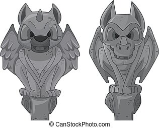 Vertical Gargoyles - Illustration of Gargoyle Statues...