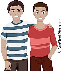 Teen Guys Bestfriends Chill - Illustration of Teenage Best...