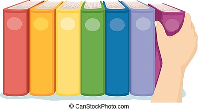 Cropped Hand Books Arrange Rainbow - Cropped Illustration of...