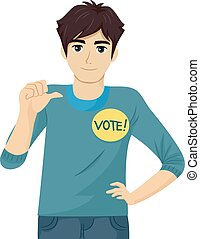 Teen Guy Student Council Candidate Promote - Illustration of...