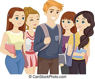 Popular Teen Guy Surrounded by Girls - Illustration of a...