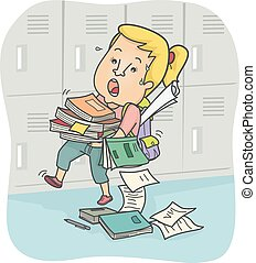 Overworked Teen Girl Student Books Falling - Illustration of...
