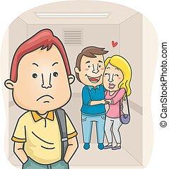 Man Jealous Couple - Illustration of a Man Jealous of a...