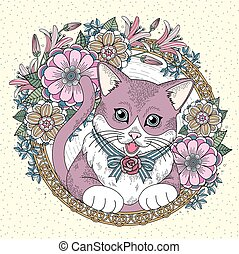 adorable kitty coloring page with floral wreath in exquisite...