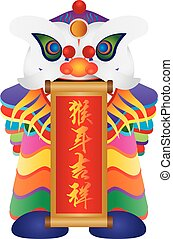 Chinese Lion Dance with Year of Monkey Calligraphy Scroll...