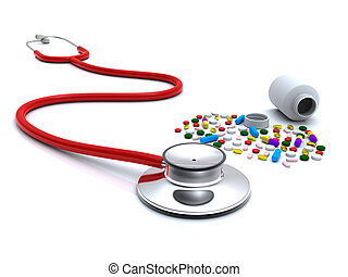 Stethoscope and pills - 3d rendering stethoscope and pills...