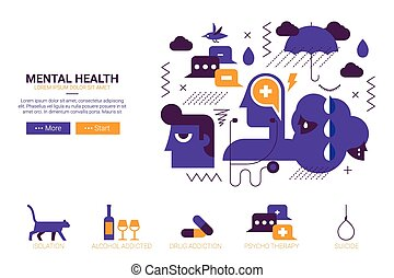 Mental health concept - Flat design illustration of mental...