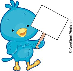 Blue Bird Hold Board - Illustration of a Blue Bird Holding a...