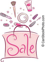 Shopping Sale Make Up Bag - Illustration of a Shopping Bag...