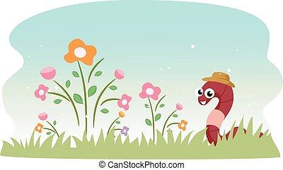 Cute Gardening Earthworm - Illustration of a Cute Earthworm...