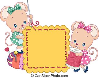 Cute Mice Sewing Board - Illustration of a Pair of Cute Mice...