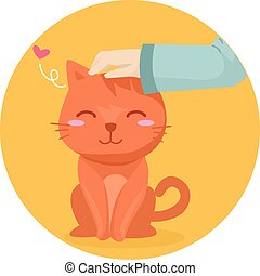 Cute Cat Petting - Illustration of a Cute Cat Being Pet on...