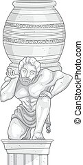 Marble Statue Man Jar - Illustration of a Marble Statue of a...
