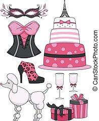 Paris Theme Pink Black Elements