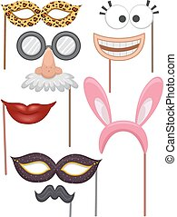 Photobooth Props Set Elements - Illustration Featuring Props...
