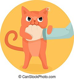 Cat Bite Hand - Illustration of a Cute Cat Biting the Hand...