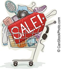 Promo Sale Price Tag Shopping Cart Full
