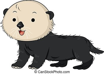 Cute Sea Otter - Illustration of a Cute Sea Otter Smiling...