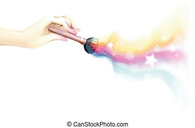 Colorful Makeup Hand - Colorful and Whimsical Illustration...