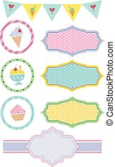 Colorful Ice Cream Party Design Elements